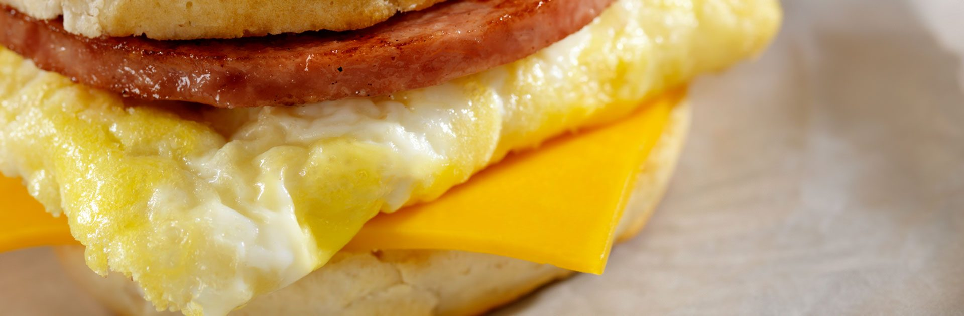 Ham, egg and cheese biscuit sandwich